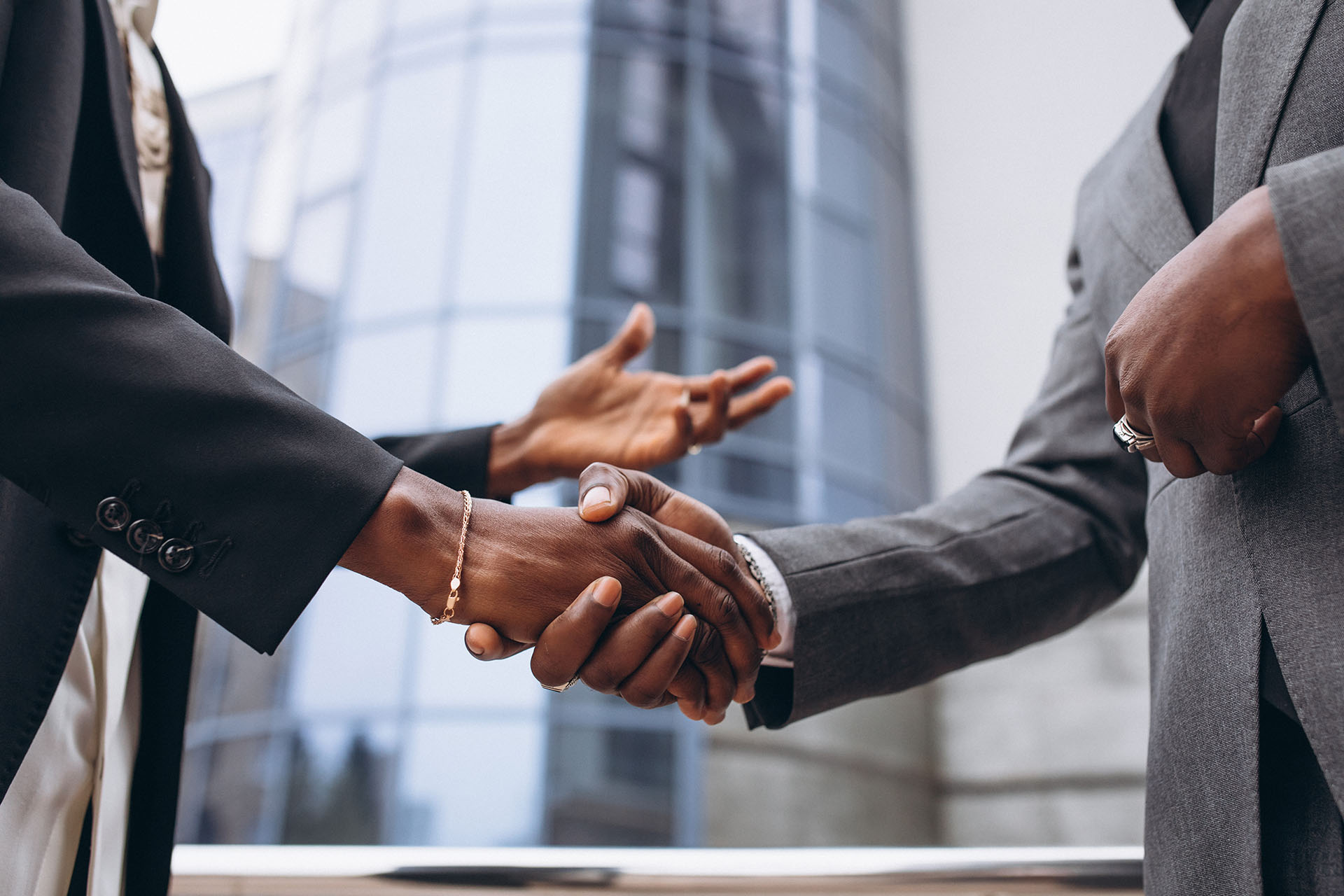African business male people shaking hands